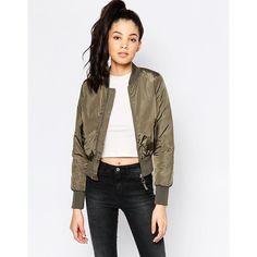 Brave Soul Bomber Jacket ($46) ❤ liked on Polyvore featuring outerwear, jackets, khaki, cropped bomber jacket, zipper jacket, blouson jacket, tall jackets and white zip jacket