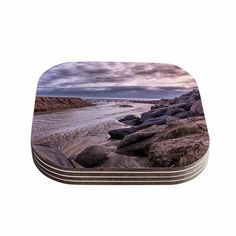 Kess InHouse Nick Nareshni 'Clouds Over Carlsbad Beach' Blue Coastal Coasters (Set of 4) (Clouds Over Carlsbad Beach) (Wood)