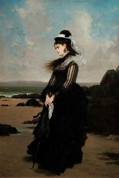 Jules Émile Saintin, Woman in Black, (1873)The Flower Girl - Albert Lynch