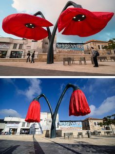 HQ Architects designed a set of giant flowers that bloom and react to pedestrians and transportation - what a beautiful interactive element that would be a destination piece for your district! Interactive Installation, Interactive Art, Installation Art, Art Installations, Abstract Sculpture, Sculpture Art, Metal Sculptures, Bronze Sculpture, Outdoor Sculpture
