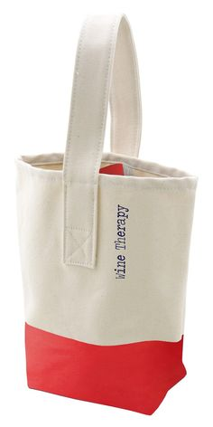 "Clever ""wine therapy"" canvas tote. Great hostess gift idea (with a bottle or two, of course)!"