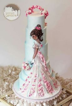 Handpainted bride in wedding dress cake Cute Cakes, Pretty Cakes, Gorgeous Cakes, Amazing Cakes, Fondant Cakes, Cupcake Cakes, Bolo Artificial, Decoration Patisserie, Bridal Shower Cakes