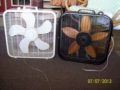 "Painted my ugly, rusted, dirty box fan to look like sunflower (borrowed similar fan for ""before"" and ""after"")"