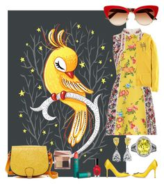 """Sing Canary"" by creation-gallery ❤ liked on Polyvore featuring 5th Avenue Designs, Mary Katrantzou, Manolo Blahnik, Boden, Dolce&Gabbana, Lipstick Queen and Bobbi Brown Cosmetics"