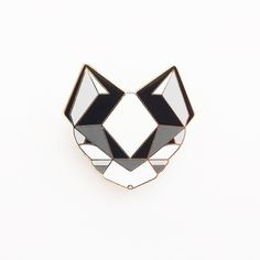 BLACK CAT BROOCH Cat Brooch - Black and White Geometric Metal Pin This precious Black and White Devon Rex Cat will bring a touch of pastel he...