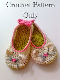 Kitty Cat Slippers Crochet Pattern #207 PDF Instant Download Toddler sizes 4-9