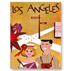 Los Angeles #California ~ #Vintage #Travel Poster Postcard by TheVintageVamp
