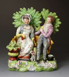 "Antique English bocage figure ""Persuasion"" from Staffordshire Pottery, c. 1815"