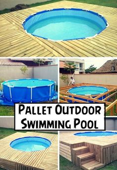 Diy pallet patio decks with furniture landscapes deck for Garden pool made from pallets