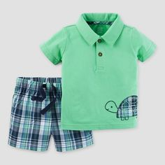 Baby Boys' 2 Piece Set Plaid Turtle Green/Navy Plaid 12M - Just One You Made by Carter's, Infant Boy's