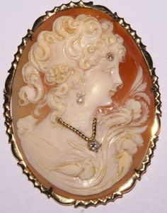 Antique Victorian Ladies 14k Yellow Gold Cameo Pendant Brooch w 4 Diamonds | eBay