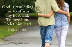 God is reminding me to affirm my husband.