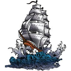 sail ship tattoo - I like the waves in this...