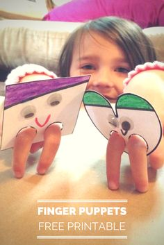 Shape Finger Puppet Printables #preschool #kidscrafts #efl (repinned by Super Simple Songs)