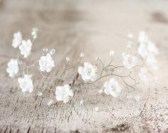 Wedding flower crown, White flower crown, Tiara flowers, Headpiece flower crown, Wedding tiara, Hair accessories flower crown, Floral crown. by ArsiArt on Etsy https://www.etsy.com/listing/170665063/wedding-flower-crown-white-flower-crown