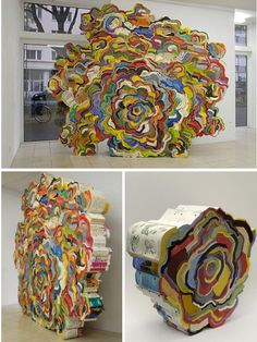 Sculpture created with phone books! #artsed #arted