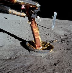 A view of an Apollo 11 lunar module strut. July 20, 1969. (Source: NASA)