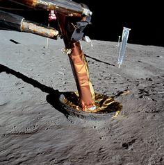 A view of an Apollo 11 lunar module strut. July 20, 1969. (Source: NASA)