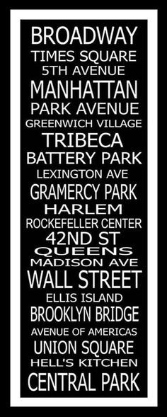 Subway Art Sign New York Destinations Typography by PaperBleu