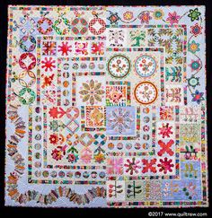Best Contemporary Quilt (Professional): Appliqué Sampler with a Twist by Megan Manwaring. 2017 Sydney Quilt Show. Sampler Quilts, Scrappy Quilts, Quilting, Petra Prins, Medallion Quilt, Contemporary Quilts, Sewing Studio, Applique Quilts, Quilt Patterns
