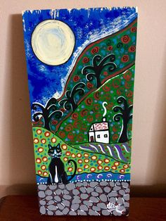 Items similar to Cat folk art ORIGINAL PAINTING porch cat collection,Aline Cross Art, Collectible cat art Original folk art cat artwork wood painting on Etsy Cross Art, Green Mountain, Cat Art, Painting On Wood, Folk Art, Porch, Original Paintings, The Originals, Cats