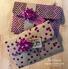DIY Stampin Up Fun Gift Card Holders using Foiled Frenzy Specialty DSP and the Mini Gift Bows.