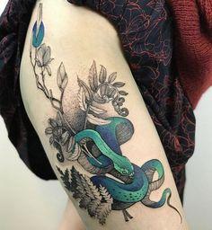 Line Tattoos, Small Tattoos, Sleeve Tattoos, Tattoos For Guys, Tattoos For Women, Tatoos, Tattoo Snake, Snake And Flowers Tattoo, Bikini Line Tattoo