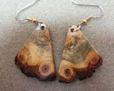 Unique Raw Edge Buckeye Burl Dangle Exotic Wood Earrings by ExoticWoodJewelryAnd Ecofriendly repurposed hypo allergenic ear wires. Ceramic Jewelry, Wooden Jewelry, Buckeye Burl, Wooden Earrings, Wood Crafts, Exotic, Dangles, Great Gifts, Jewelry Design