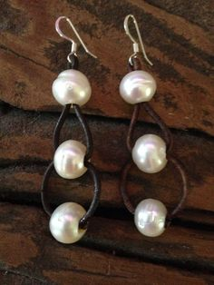 Double Hoop South Sea Pearl Earrings on Etsy, $98.00