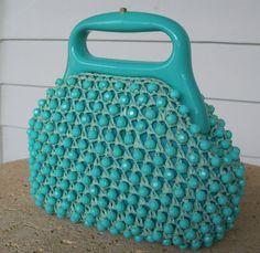 Vintage 1960s Purse Wolberg Italian Turquoise Raffia Beaded