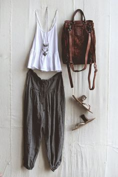 leather backpack, brown pure leather bag and sandles metal