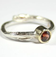 Sterling Silver Cast Willow Ring with Garnet Stone. This ring has been made from a cast of Scotish Willow