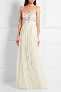Needle & Thread | Embellished satin-crepe and tulle gown