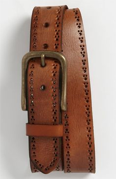 This would look great w/ my new shoes. $49.50 1901 'Rough' Perforated Leather Belt available at #Nordstrom