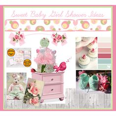 Sweet Baby Girl Shower Ideas by imaginebaby on Polyvore featuring SIWA, Brewster Home Fashions and Seed Design