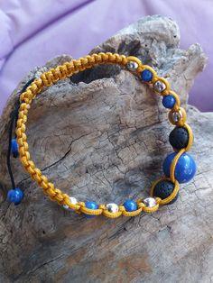 Messieurs yellow Crystal Gemme styl Matt Onyx shamballa bracelet pour hommes