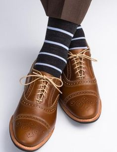 Charcoal with Sky Blue Fine Merino Wool Stripe Linked Toe Mid-Calf