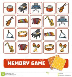 Memory Game For Children, Cards With Musical Instruments Stock Vector - Illustration of classical, cello: 85472939 Memory Game For Children, Cards With Musical Instruments Stock Vector - Image: 85472939 Music Lessons For Kids, Music Lesson Plans, Memory Games For Kids, Music For Kids, Piano Forte, Preschool Music Activities, Elementary Music, Teaching Music, Music Education