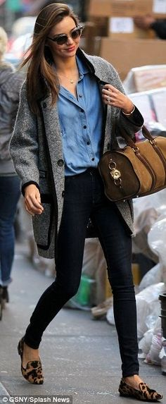 25. Slim Black Pants, Chambray Top, Big Jacket and Leopard Loafers - 65 Absolutely Stunning Miranda Kerr Outfits ... → Celebs