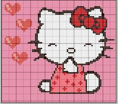 Beaded Cross Stitch, Cross Stitch Charts, Cross Stitch Patterns, Chat Hello Kitty, C2c, Plastic Canvas Patterns, Cross Stitching, Pixel Art, Embroidery