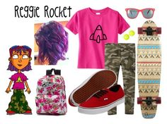 """Reggie Rocket - Rocket Power Girls Outfit Set"" by tinywearco ❤ liked on Polyvore"
