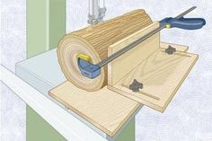 Many bandsaw resaw jigs require screwing or hot-gluing the log to the sled to hold it steady during a cut.