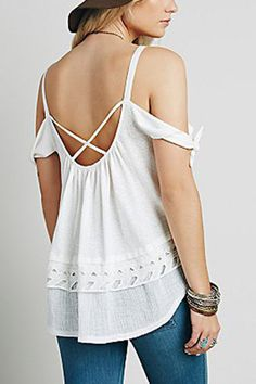 White Cold Shoulder Criss-cross Back Overlay Cami Top Halter Tops, Cami Tops, Cute Dresses, Cute Outfits, Funny Summer, Nail Accessories, Fashion Outfits, Womens Fashion, Clothing Ideas
