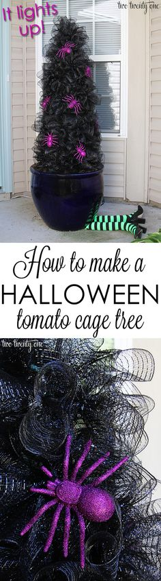 How to make a Halloween tomato cage tree! by luann How to make a Halloween tomato cage tree! Spooky Halloween, Halloween Veranda, Image Halloween, Spirit Halloween, Holidays Halloween, Halloween Crafts, Holiday Crafts, Holiday Fun, Happy Halloween