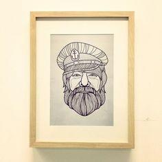 ritratto - quadro - ipster - marinaio - capitano - barba - china -