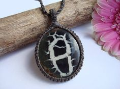 Septarian Necklace/Nurture/Transformation/Fossil/Macrame