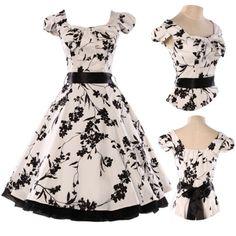 Vintage-Printed-Cap-sleeve-Swing-50s-Housewife-pinup-Dress-Vintage-Rockabilly
