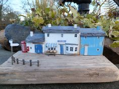 """Gwalia Stores and Bakery"" - A Welsh village shop in the 1970's.  Handmade in Wales using driftwood from Pendine Beach together with reclaimed materials and using Welsh slate for the roof."