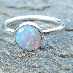 Sterling Silver White Multi Opal Stacking Ring