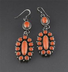 Silver & Coral Earrings (Navajo)